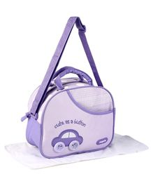 Baby Diaper Bag With Changing Mat Car Design - Purple