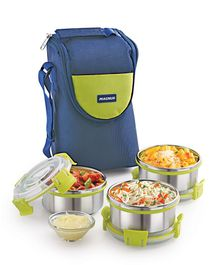 Magnus Stainless Steel Lunch Box With Case Set of 3 - Green