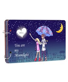 Studio Shubham Wooden Scrapbook Album You Are My Moonlight Print - Blue