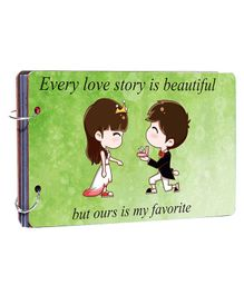 Studio Shubham Wooden Scrapbook Album Every Love Story Is Beautiful Print - Green