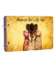 Studio Shubham Wooden Scrapbook Album Memories Print - Yellow