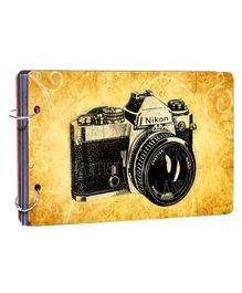 Studio Shubham Wooden Scrapbook Album Camera Print - Brown