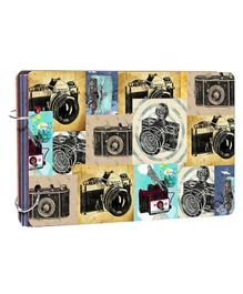 Studio Shubham Wooden Scrapbook Album Happy Camera Print - Multicolour