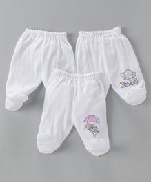 Zero Footed Bootie Leggings Pack of 3 Baby Elephant Print - White
