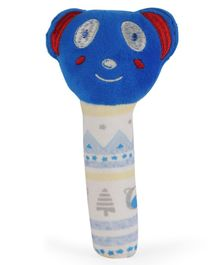 Babyhug Bear Face Rattle Cum Soft Toy - Blue & White