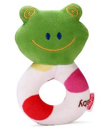 Babyhug Frog Face Rattle Cum Soft Toy - Green & White