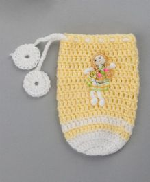 Buttercup from Knitting Nani Bottle Cover Doll Applique Yellow White - Fits Upto 260 ml