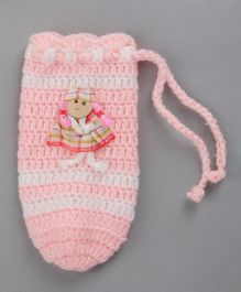 Buttercup from Knitting Nani Bottle Cover Doll Applique Pink White - Fits Upto 260 ml