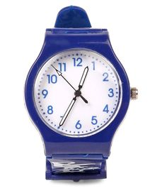 Leaf Print Analog Watch - Indigo