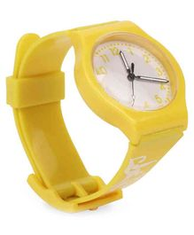 Leaf Print Analog Watch - Yellow
