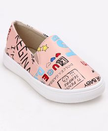 Cute Walk by Babyhug Printed Party Wear Loafers - Peach