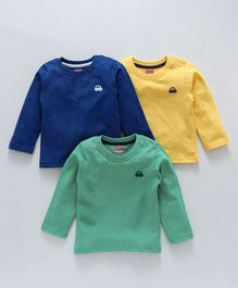 Babyhug Full Sleeves Cotton T-Shirt Pack of 3 - Green Blue & Yellow