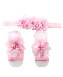 Babymoon Party Wear Satin Headband And Barefoot Sandals Set Floral Appliques - Pink