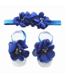 Babymoon Party Wear Satin Headband And Barefoot Sandals Set Floral Appliques - Royal Blue