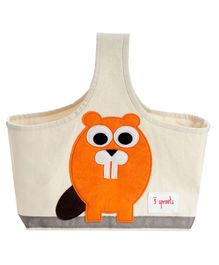 3 Sprouts Caddy Bag Beaver Print - Cream & Orange
