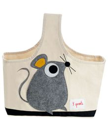 3 Sprouts Caddy Bag Mouse Print - Cream & Grey