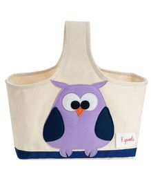 3 Sprouts Storage Caddy Owl Print - Cream & Purple