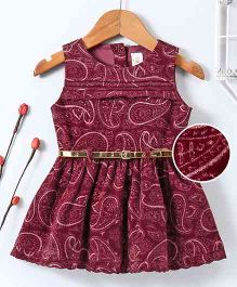 Bee Born Paisley Print Sleeveless Dress - Maroon