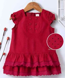 Bee Born Polka Dot Print Cap Sleeves Dress - Red