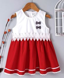 B&G Kids Bow Embellished Sleeveless Dress - Red & White