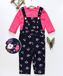 Babyhug Corduroy Dungaree With Tee Floral Print - Pink Navy Blue