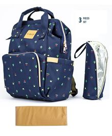 T-Bags Diaper Backpack With Bottle Holder & Changing Mat Floral Print - Navy Blue