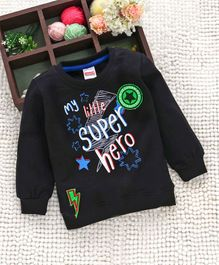 Babyhug Full Sleeves Sweatshirt Hero Print - Dark Grey