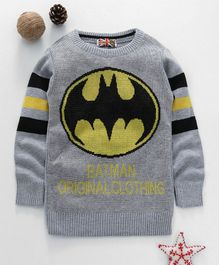 Game Begins Full Sleeves Sweater Batman Design - Grey