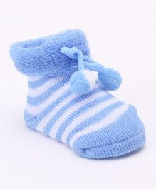 Cute Walk by Babyhug Ankle Length Striped Sock Shoes - Blue