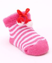 Cute Walk by Babyhug Ankle Length Striped Sock Shoes - Rose Pink