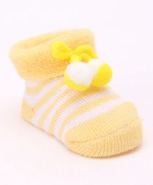 Cute Walk by Babyhug Ankle Length Striped Sock Shoes - Yellow