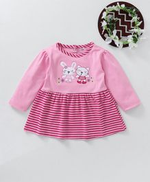 Baby Go Full Sleeves Striped Frock Teddy Bear Patch - Pink