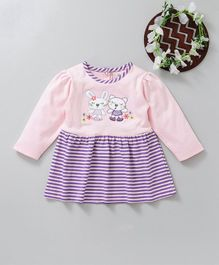 Baby Go Full Sleeves Striped Frock Teddy Bear Patch - Peach