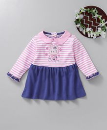 Baby Go Full Sleeves Striped Frock Bunny Patch - Blue & Pink