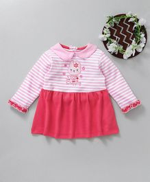 Baby Go Full Sleeves Striped Frock Bunny Patch - Pink
