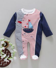 Baby Go Full Sleeves Striped Footed Romper Boat Patch - Navy Blue