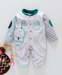 Baby Go Full Sleeves Footed Romper Animal Embroidered - Grey Green