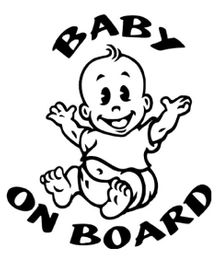 Fusion Graphix Baby On Board Sticker - Black White