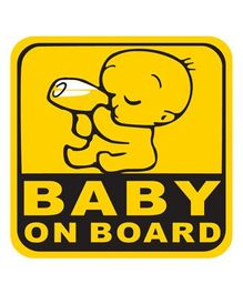 Fusion Graphix Baby On Board Sticker Black & Yellow drinking milk 037