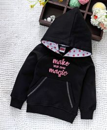 Babyhug Full Sleeves Hooded Sweatshirt Text Print - Black