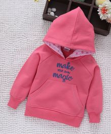Babyhug Full Sleeves Hooded Sweatshirt Text Print - Pink