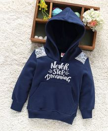 Babyhug Full Sleeves Hooded Sweatshirt Never Stop Dreaming Print - Navy Blue