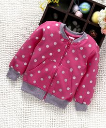Babyhug Full Sleeves Polka Dotted Sweat Jacket - Candy Pink