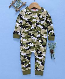 Babyhug Full Sleeves Camouflage Cotton Romper - Olive Green