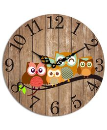 Studio Shubham Owl Design Wooden Wall Clock - Brown