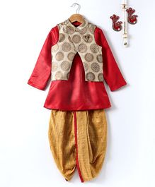Pspeaches Long Sleeves Kurta & Dhoti With Printed Jacket Set - Red & Golden