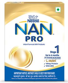 Nestle Nan Pro 1 Starter Infant Formula Powder - Upto 6 Months Stage 1 400 gm Bag-In-Box Pack
