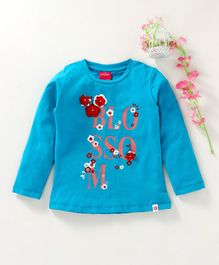 Button Noses Full Sleeves Tee Text & Floral Print - Blue
