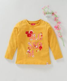 Button Noses Full Sleeves Tee Text & Floral Print - Mustard