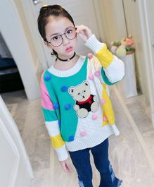 Awabox Teddy Applique Full Sleeves Sweater - White